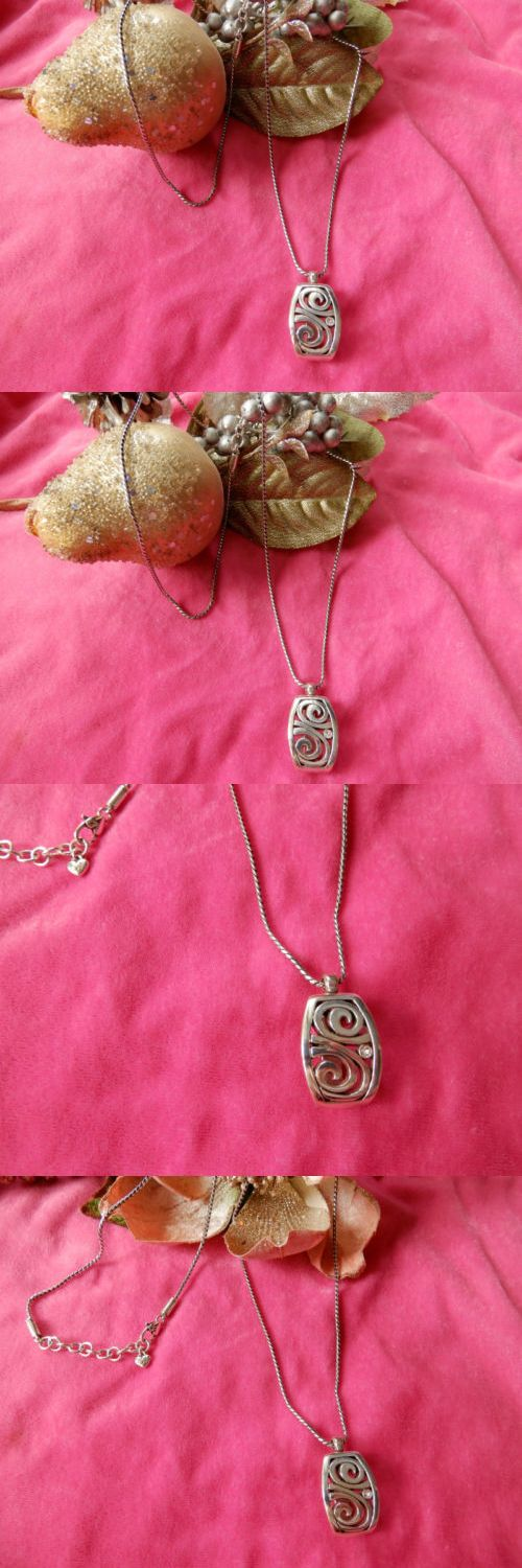 Necklaces and Pendants 165893: Vintage Rare Brighton Silver Plated Necklace Pendant Swirl Rectangle W Crystal -> BUY IT NOW ONLY: $65 on eBay!