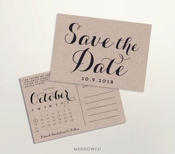 Calendar Save-the-date Postcard Calendar Save The Date by MeadowCo