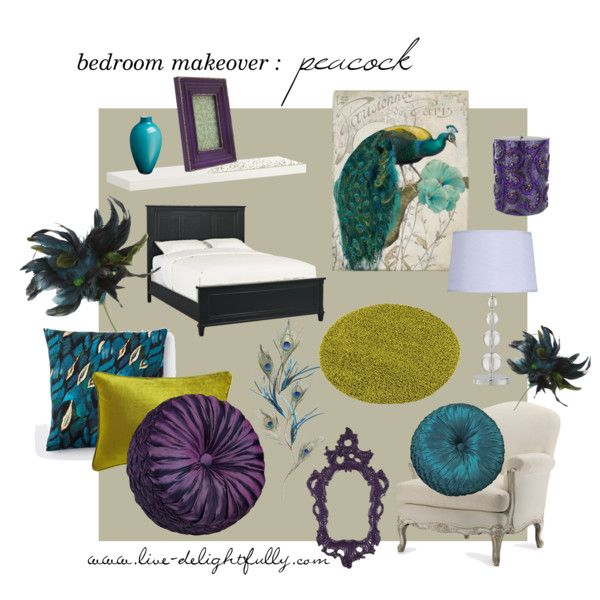 peacock themed bedroom inspiration board #peacock #purple #teal