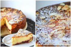 Und jetzt auch noch der beste Käsekuchen: Mit Mandelkruste und Kirsch-Konfitüre, wooohooo! | New Kitch On The Blog | Bloglovin'