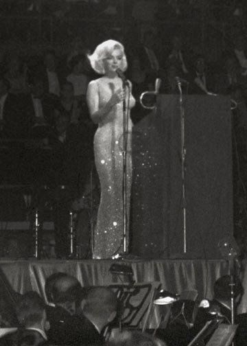 """MM at JFK Birthday Celebration ~ 1962 """"Happy birthday Mr. President, Happy Birthday to You.""""..The Moment That, Perhaps, Brought About """"...the begining of the end...""""....Marilyn Singing..."""