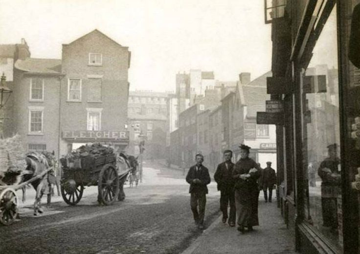 Hollow Stone at Junction with Fisher Gate, Lace Market, Nottingham, c 1895. Like