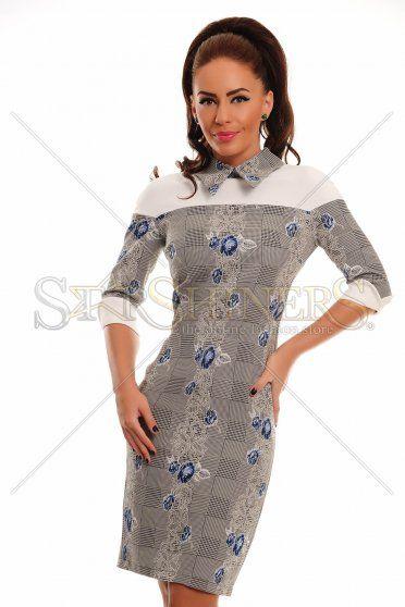 LaDonna Flowered Collar Blue Dress