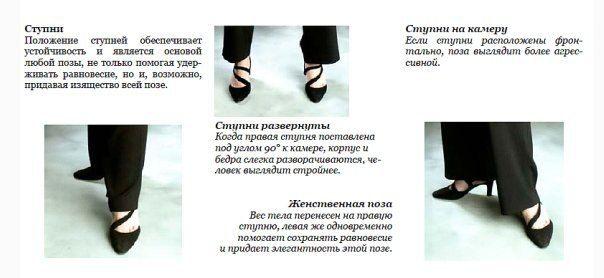 Когда модель фотографируют босиком, особое внимание следует уделять расположению ступней.Не располагайте их в профиль к камере (если только модель не стоит на носочкам или не тянет пальчики вперед) или так, чтобы они были точно на него нацелены. В приведенных случаях, ступни будут выглядеть на фото или как большие широкие ласты, или как обрубки. Фотограф должен следить, чтобы модель тянула носки пальцев вперед, на фото это смотртся очень изящно.
