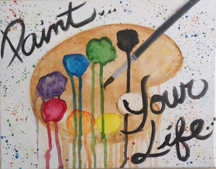 "CANVAS WATERCOLOR PAINTING: ""Paint Your Life"" Watercolor Paint Pallette/ Splatter Paint Canvas Painting by TrendingArtistsSoc on Etsy"