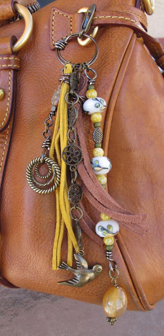 Purse Charm Charm Tassel Zipper Pull Key Chain by #ThePaintedCabeza