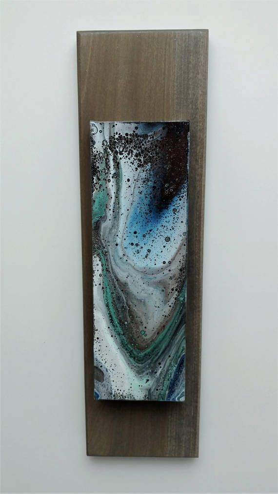 Acrylic Pour Painting On 4 X 12 X 1 Canvas Inset 1 4 In Stained Solid Wood Frame Making The Overall Dimensions 5 1 2 X Acrylic Pouring Art Art Resin Painting