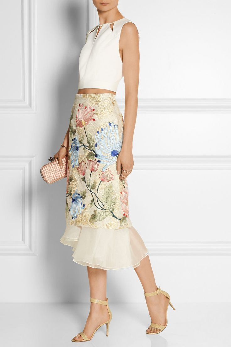 Biyan | Mirea embroidered brocade and silk-organza midi skirt | NET-A-PORTER.COM (Beautiful skirt, but would make myself)