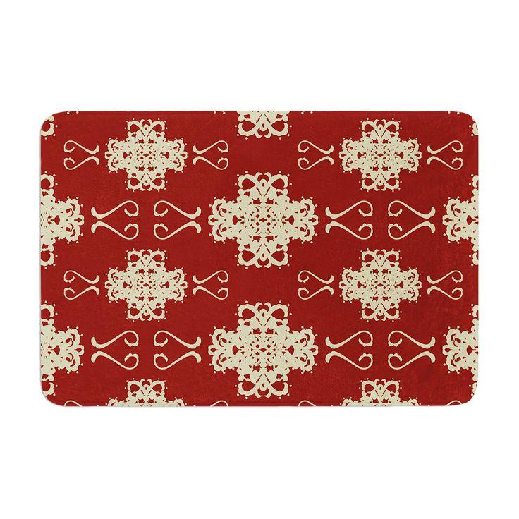 "Mydeas ""Asian Motif Damask"" Red Pattern Memory Foam Bath Mat"