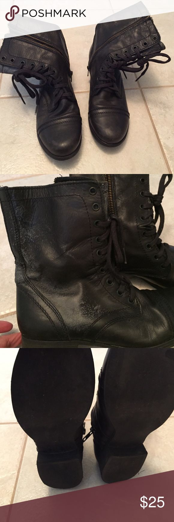 Steve Madden troopa black boot size 7.5 Steve Madden troopa back boot size 7.5 looks worn Steve Madden Shoes Ankle Boots & Booties