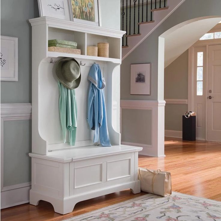 Home Styles Naples White Hall Tree with Storage Bench | from hayneedle.com
