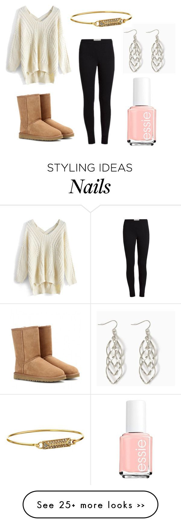 """""""Winter"""" by kittykitkat132 on Polyvore featuring Chicwish, UGG Australia, Essie ..."""