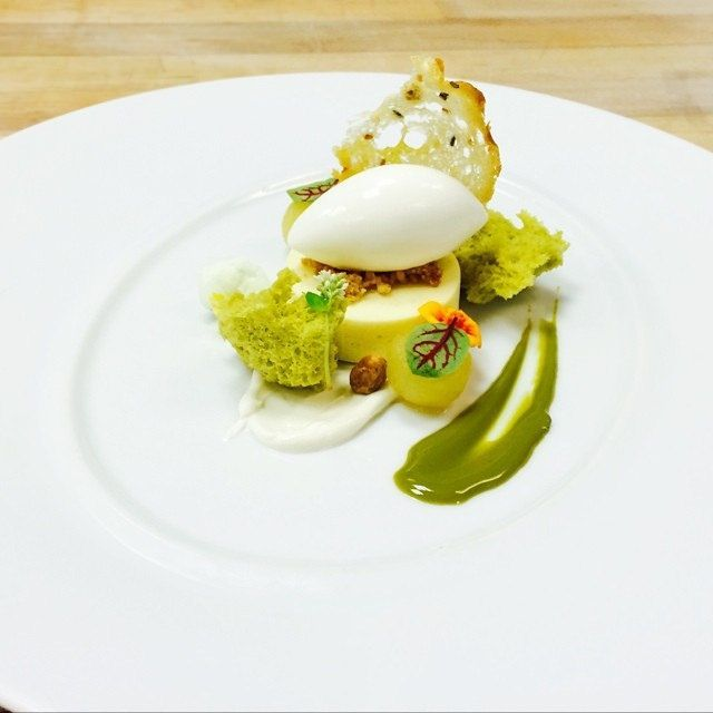 Lemon Cremeux, salted honey yogurt, pistachio purée, pistachio sponge, Greek yogurt sorbet, bread crocante #theartofplating #chefstalk | Fli...