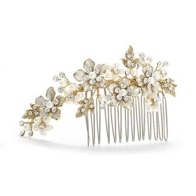 Brushed Gold and Ivory Pearl Comb