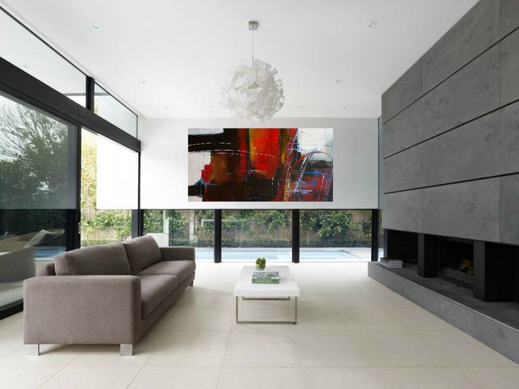 Modern art in contemporary home. Abstract painting by Jane Robinson.  Contemporary Interior DesignModern ...