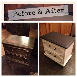 Furniture Redo With Cream And Black.....but maybe a chestnut/deep brown top on the dresser I have in the basement to updo?!?