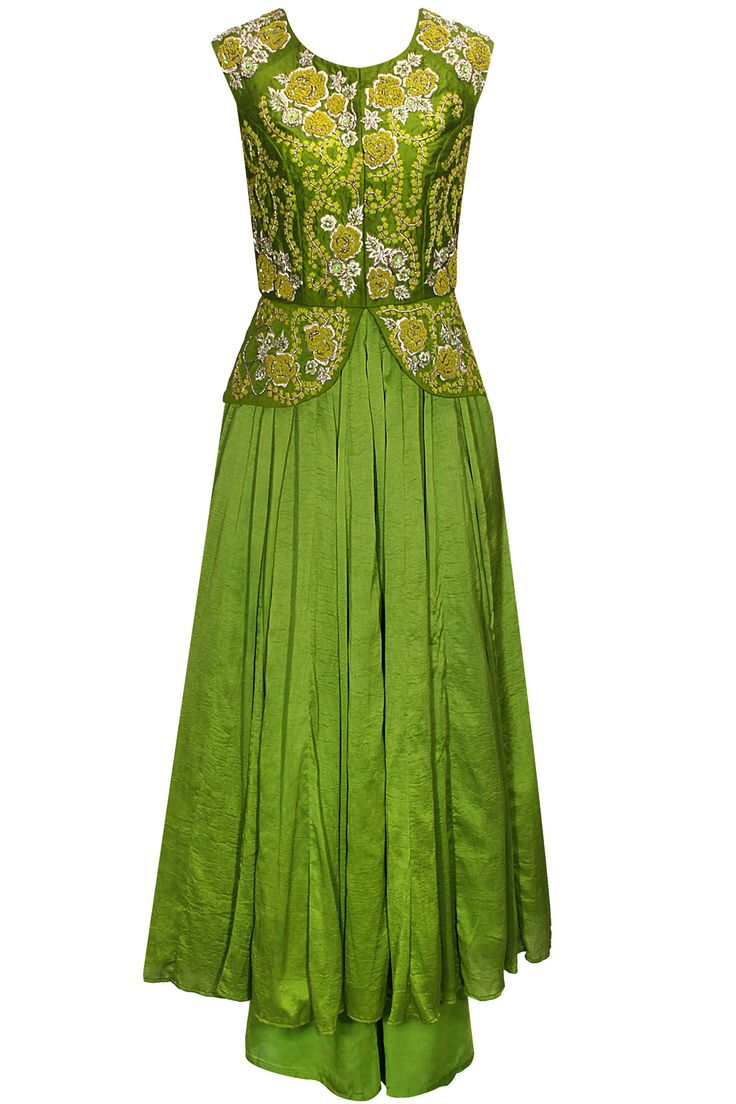Leaf green thread and zardosi embroidered peplum anarkali set available only at Pernia's Pop-Up Shop.