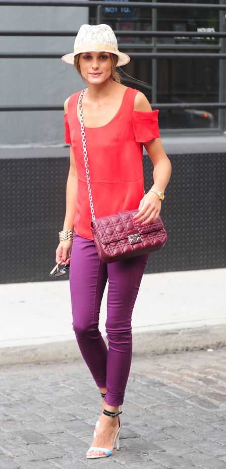 Olivia Palermo: Colored Denim in Monaco Plum, red cut-out top, lace fedora, Christian Dior cross body bag