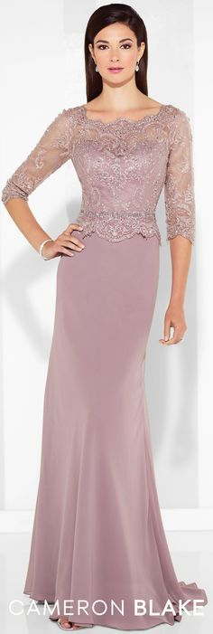 Cameron Blake - 117617 - Chiffon slim A-line gown with hand-beaded scalloped lace illusion three-quarter length sleeves and scalloped Sabrina neckline, beaded sweetheart bodice with scalloped peplum waistline, lace illusion back, sweep train.Sizes: 4 – 20, 16W – 26WColors: Pink Topaz, Black, Dark Aqua