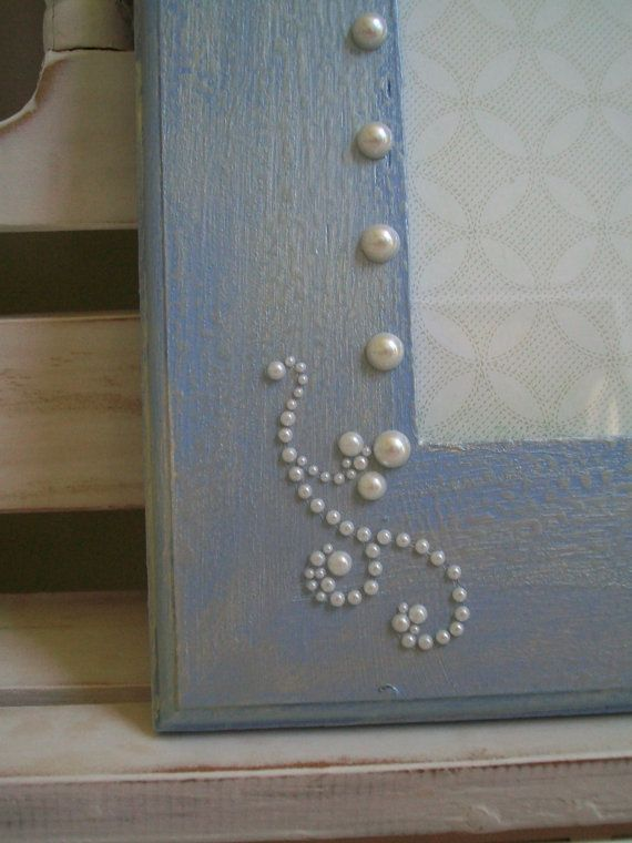 Light Blue Pearlized Distressed 5x7 Picture Frame.  Perfect for wedding photos or baby boy's christening!