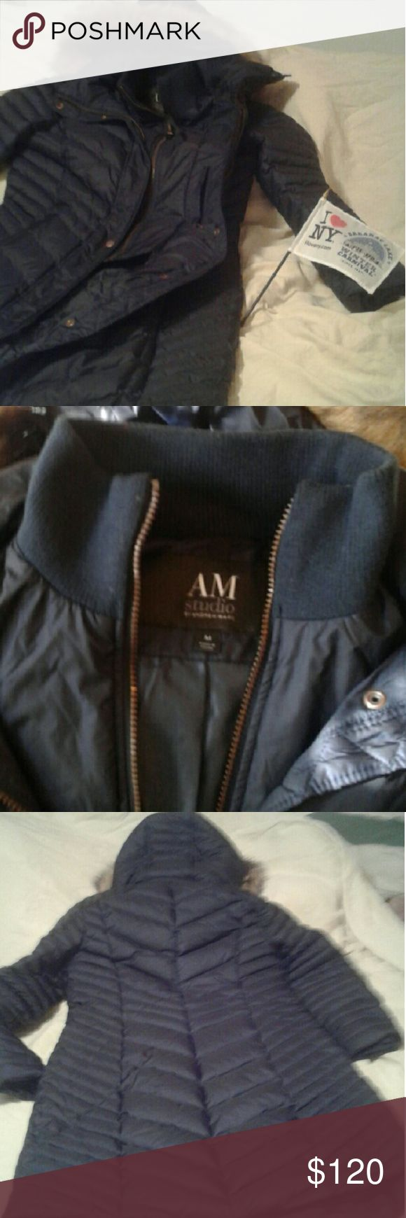 Dark Blue - Long Down Jacket by Andrew Marc Beautiful Brand new Size Medium but arms were small for me. Andrew Marc Jackets & Coats Puffers