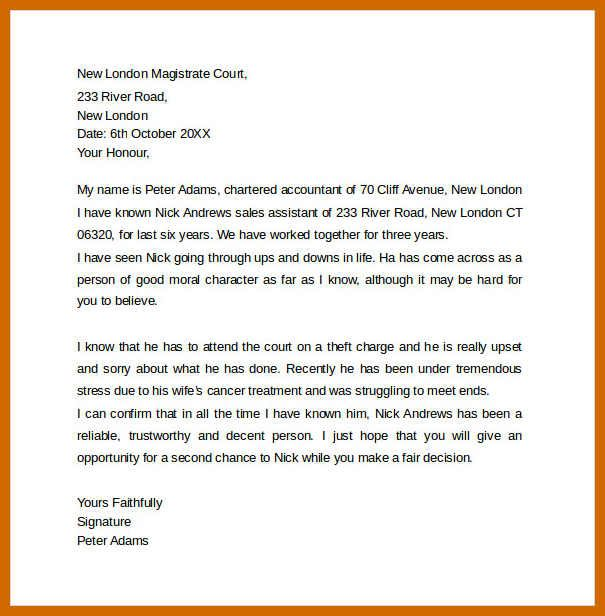 Letter To A Judge Sample Collection Of Solutions Collection Of