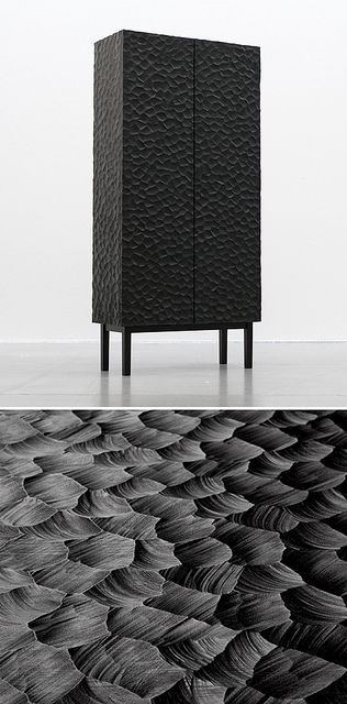 cabinet #design #new #carved #black #furniture #contemporary #handmade