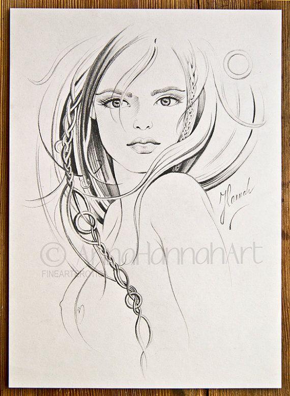 beautiful woman face long hair braid portrait by FineArtErotica