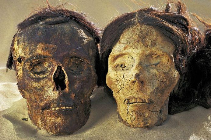 Пустыня Такла-Макан Головы этих мумий когда-то покоились в могиле бронзового века. У них явно европейские черты лица, характерные для всех мумий, обнаруженных в ходе экспедиции