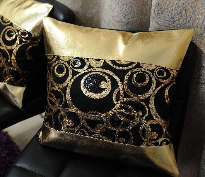 # 511 luxo ouro PU círculo de harmonização lantejoula almofada travesseiro sofá cama carro sala principal atacado dezembro(China (Mainland))