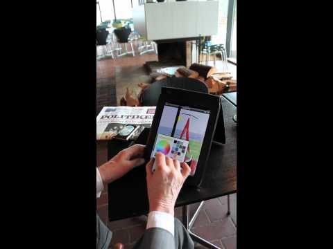 David Hockney drawing on iPad in the Louisiana Café