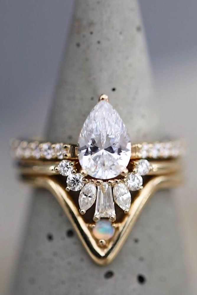 Rose Gold Wedding Rings Unique Wedding Rings Bridal Sets Pear Shaped Engagement Rings Diamond Engagem Boho Wedding Ring Wedding Rings Unique Pink Wedding Rings