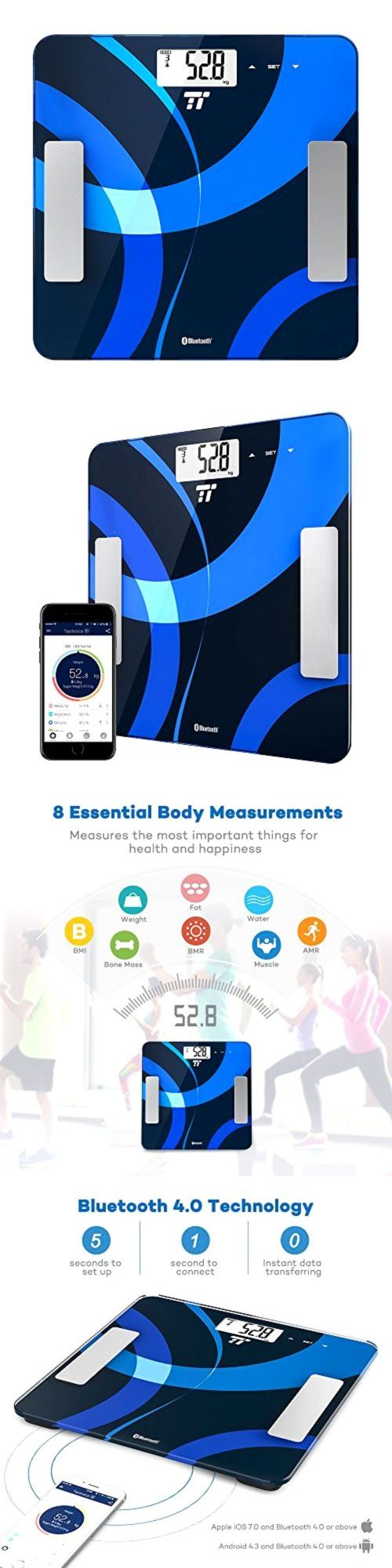 Scales: Body Fat Analyzer, Taotronics Bluetooth 4.0 Digital Bathroom Scale Measures Weig BUY IT NOW ONLY: $46.74