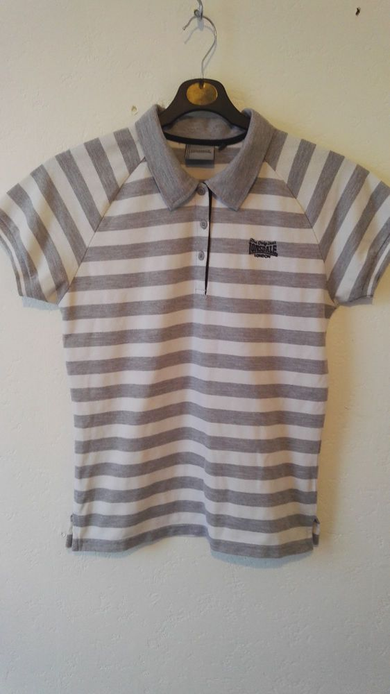LONSDALE London Ladies Polo T Shirt Striped White And Grey Size 12 NWOT