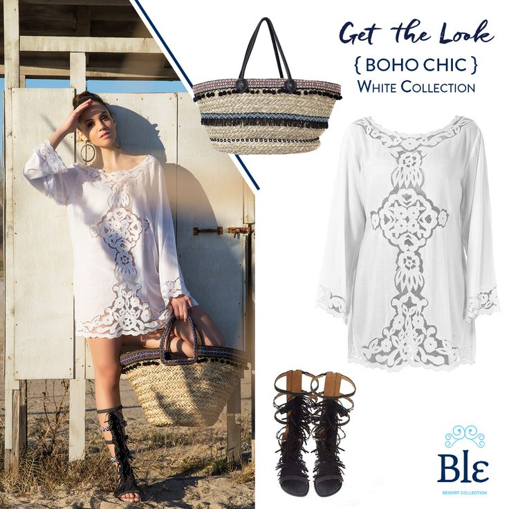 Three fashionable pieces.One gorgeous summer look!  Embroidered white kaftan, straw beach bag and tribal sandals.  Like the look? Get it here :  http://www.ble-shop.com/clothes/blouses-shirts/blouse-in-white-color-medium-100-cotton-html-2550.html http://www.ble-shop.com/bags/straw-plastics/straw-beach-bag-w-black-pom-pom-56x16x23-43-html.html http://www.ble-shop.com/sandals/leather/leather-sandal-up-to-knee.html #BleResortCollection #SummerFashion #SummerStyle #Beachbag #Kaftan #Sandals
