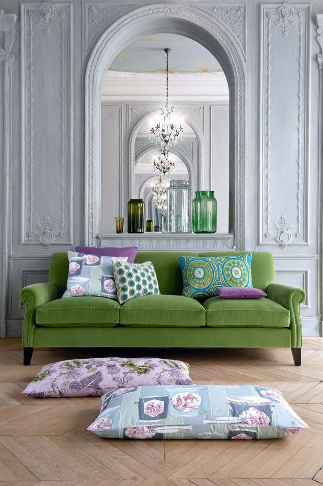 Manuel Canovas' Chateau de Bellvue (pillow on floor), Sara (pillow on floor), Foch (couch), pillows on couch L-R: Chateau de Bellvue, Champs-Elysees, Tiana, Kayla, and Camps-Elysees.