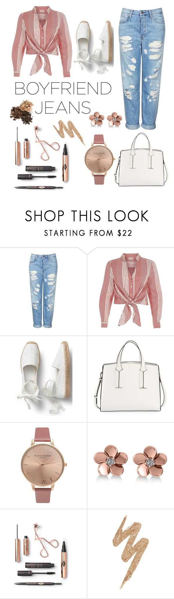 """""""Jeans jeans jeans"""" by eleni-ior ❤ liked on Polyvore featuring Topshop, River Island, French Connection, Olivia Burton, Allurez and Urban Decay"""