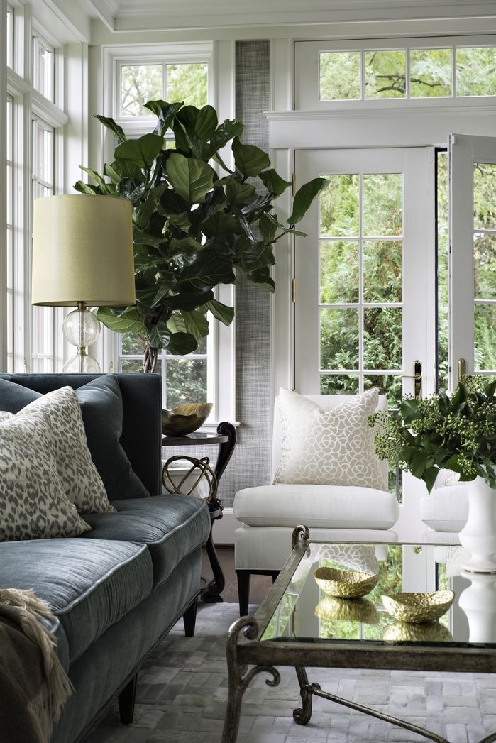 Classic green, white and gray living room filled with plants and…