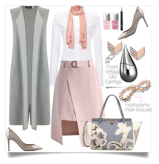 """""""A Polished Look"""" by helenaymangual ❤ liked on Polyvore featuring Burberry, Chicwish, Valentino, FOSSIL, Mint Velvet, La Prairie and Christian Dior"""