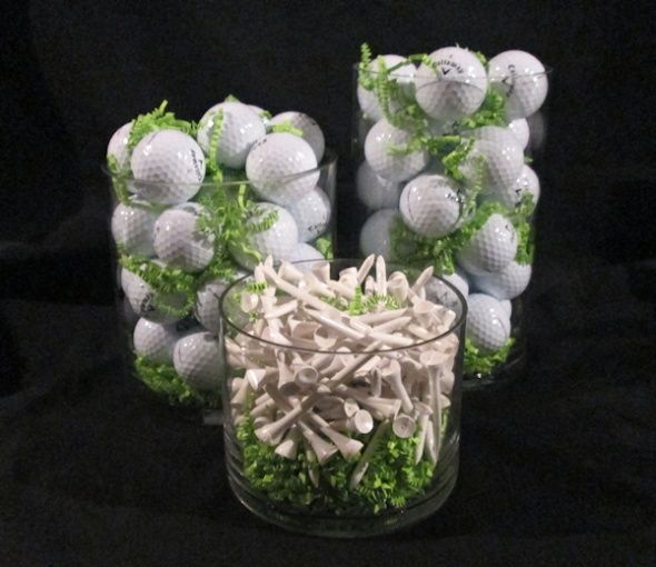 Golf Ball Centerpiece Ideas | Vases Golf Centerpiece | Cute Party Ideas