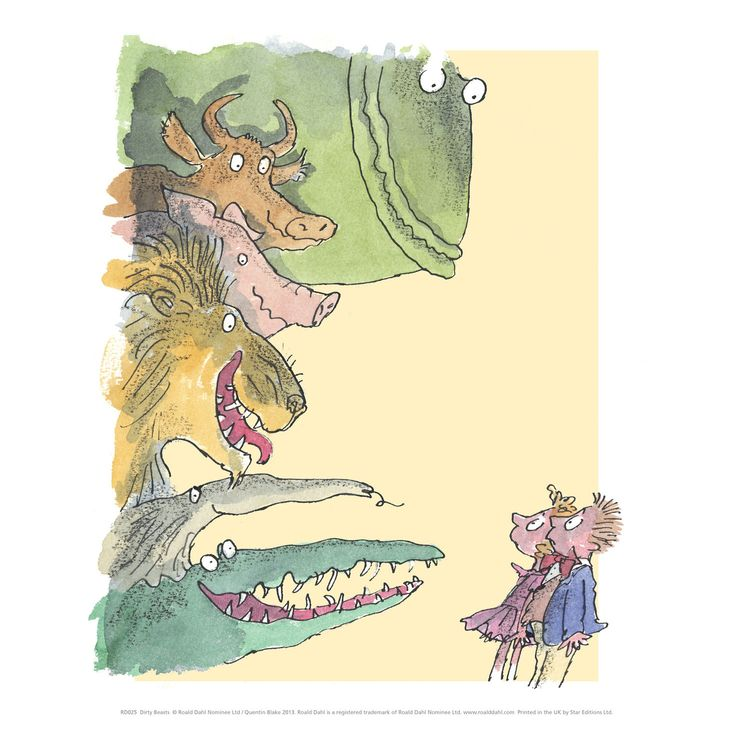 A Dirty Beasts Mini Poster, featuring characters from Roald Dahl's poems illustrated by Quentin Blake