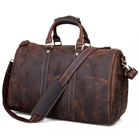 584a4fda14a4 Image of Vintage Handmade Antique Crazy Horse Leather Travel Bag / Luggage  / Duffle Bag(z11)