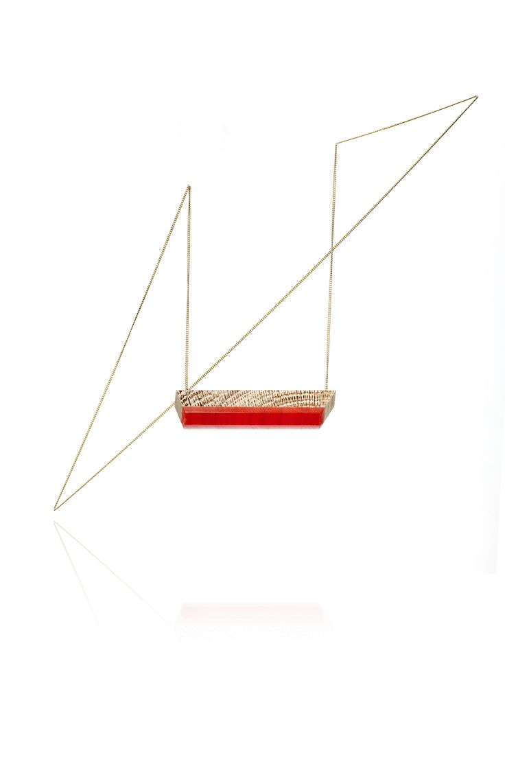 TURINA-VP-1.2 VANISHING POINT Necklace  with pendant from oak wood with a bright red resin layer. 54€ via turinajewellery.com