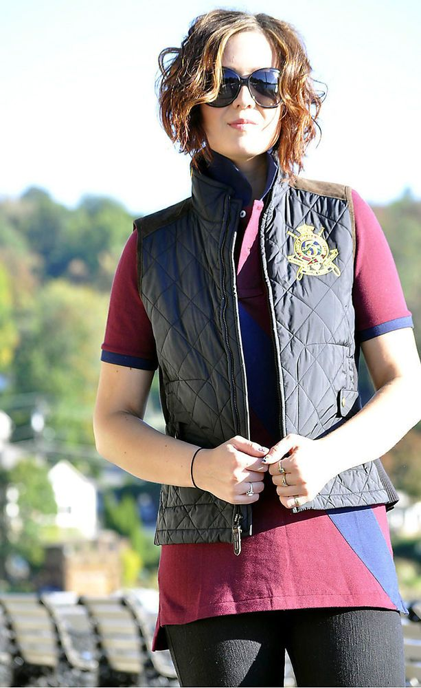 Ralph Lauren Sport Women's Equestrian Quilted Barn Vest Jacket Coat Sz S #RalphLaurenSport