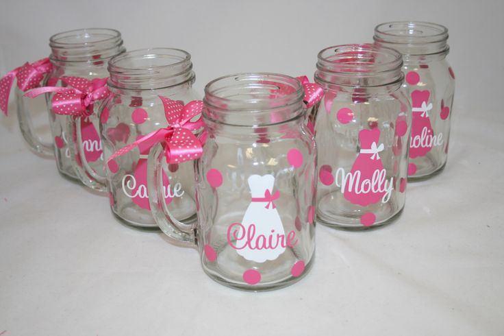 6 Personalized Mason Jar Glasses with Handle, Bride and Bridesmaids Gift by SweetSouthernCompany on Etsy https://www.etsy.com/listing/164338788/6-personalized-mason-jar-glasses-with