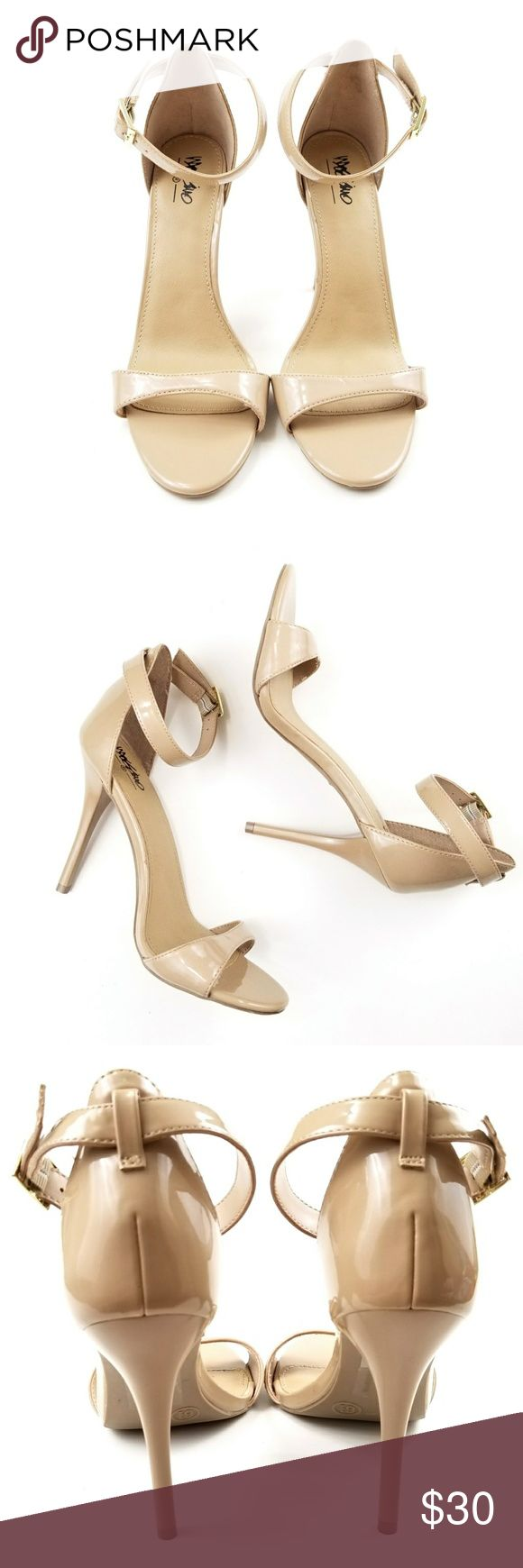 """FLASH SALE Mossimo Nude Strappy Heels Mossimo, nude/tan color, patent faux leather, strappy high heel, excellent condition, never worn, 4"""" heel, size 6.5. Shoes Heels"""