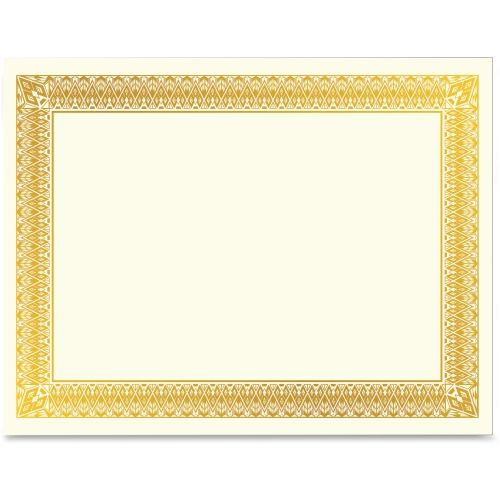 Item#: GEO47829  Geographics Gold Foil Certificate  Laser, Inkjet Compatible - Gold Gold foil-enhanced border gracefully presents award or certificate Premium weight ivory paper will not discolor over time for lasting display Online design center offers collection of templates for easy customization For use with laser and inkjet printers