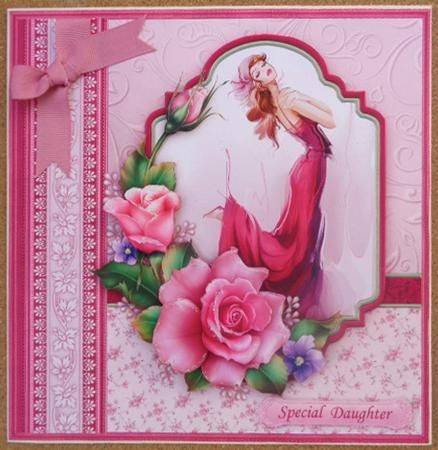 LADY ROSE Female Birthday Mother s Day 8 Decoupage Mini Kit on Craftsuprint designed by Janet Briggs - made by Linda Short - Printed on matt photo paper and attached to 8x8 card. Built up image with foam pads. Added my selected sentiment. Finished with bow and a touch of glitter on roses. A stunning card in fabulous colours. Love it. - Now available for download!
