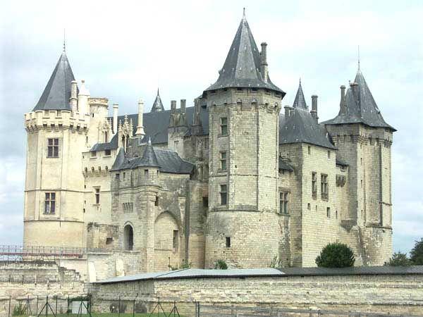 Château de Saumur 49, planté sur une éminence naturlle surplombant la Loire, il parait tout droit sorti d'une enluminure médiévale. Il incarne le chateau fort tel que nous le concevons dans notre inconscient collectif, avec ses hautes tours crénelées, ses toits en poivrières, ses rangées de machicoulis et sa forêt de cheminées. Mais la survie de ce géant relativement épargné par le temps est aujourd'hui menacée et il nécessite des soins attentifs et coûteux;