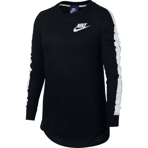 Nike Girls' Sportswear Long Sleeve Top (BLACK/WHITE, Size Large) - Girl's Apparel, Girl's Athletic Tops at Academy Sports